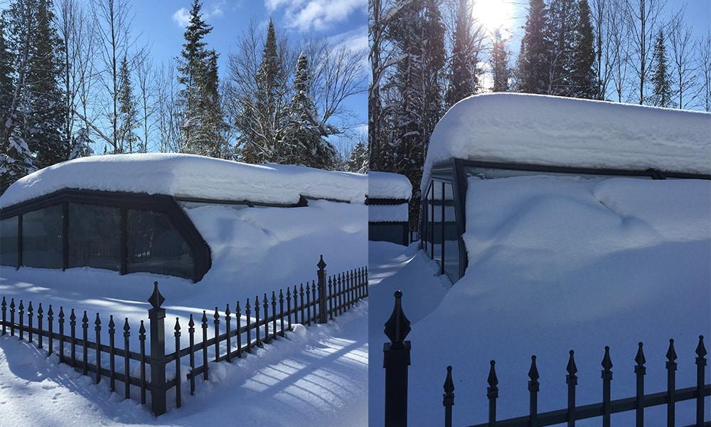 Abri de piscine haut Arcadia - Abri haut sous la neige au Canada